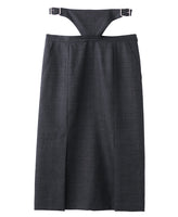 WOMENS SLIT SKIRT WITH WAIST BELT / GREY