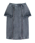 WOMENS WASHED DENIM ZIPPED SKIRT / BLACK