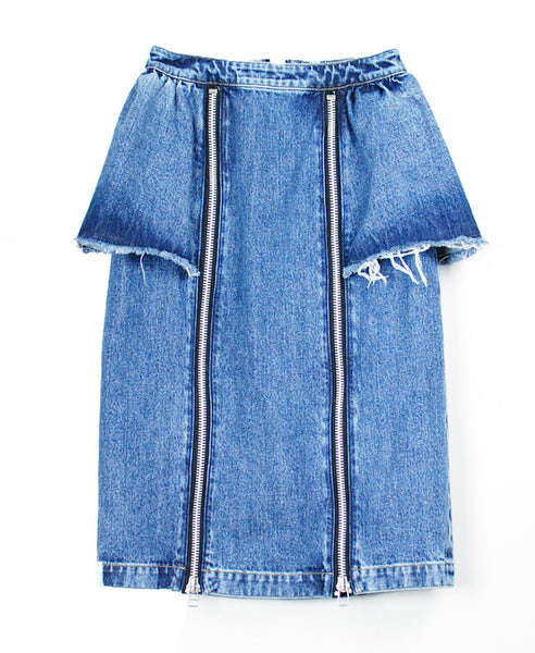 WOMENS WASHED DENIM ZIPPED SKIRT / INDIGO