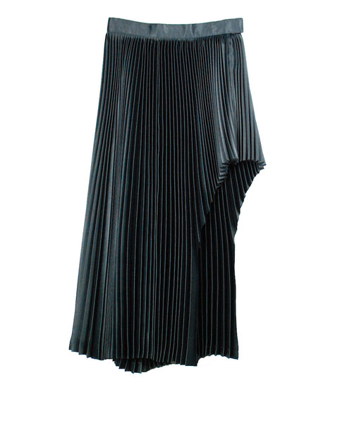 WOMENS SATIN PLEATED SKIRT / BLACK