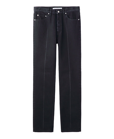 WOMENS WASHED DENIM CENTER LINE PANTS / BLACK