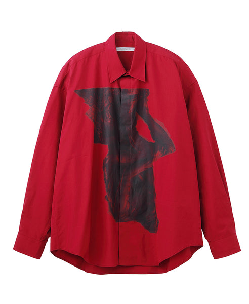 OVERSIZED PRINT SHIRT / RED