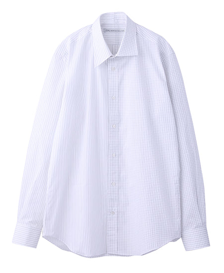 MIX BROADCLOTH ASYMMETRY COLLAR SHIRT