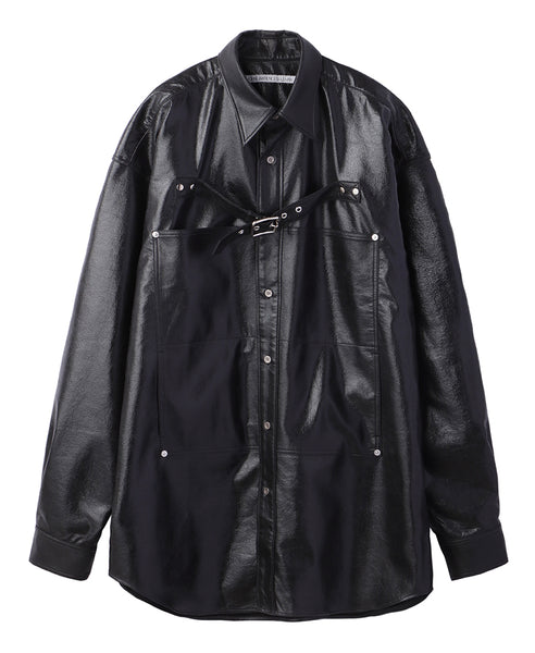 FRONT SIDE BELTED SHIRT / BLACK