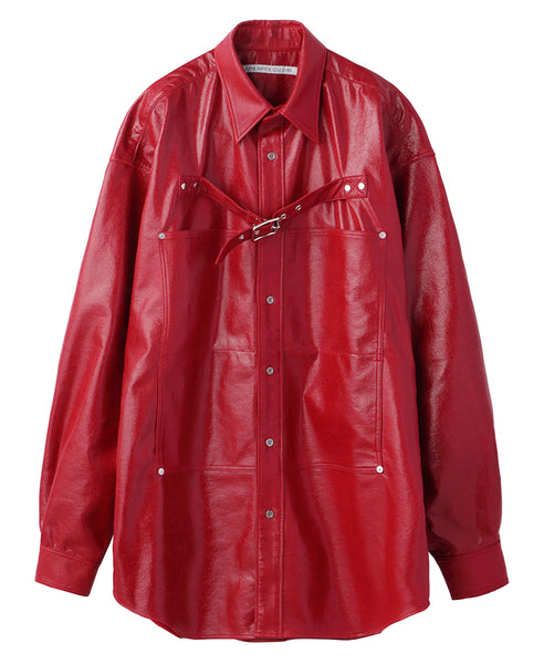 FRONT SIDE BELTED SHIRT / RED