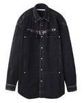 FRONT SIDE BELTED DENIM SHIRT / BLACK
