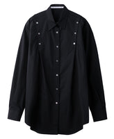 WOMENS SHOULDER BUTTON SHIRT / BLACK