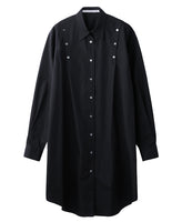 WOMENS SHOULDER BUTTON SHIRT DRESS / BLACK