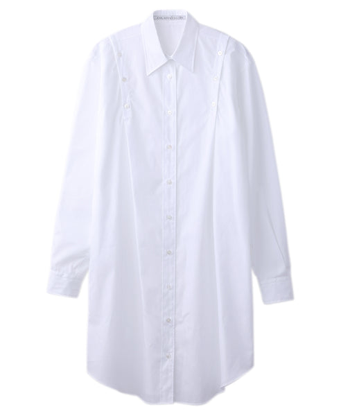 WOMENS SHOULDER BUTTON SHIRT DRESS / WHITE