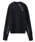 ZIPPED CN KNIT SWEATER / BLACK