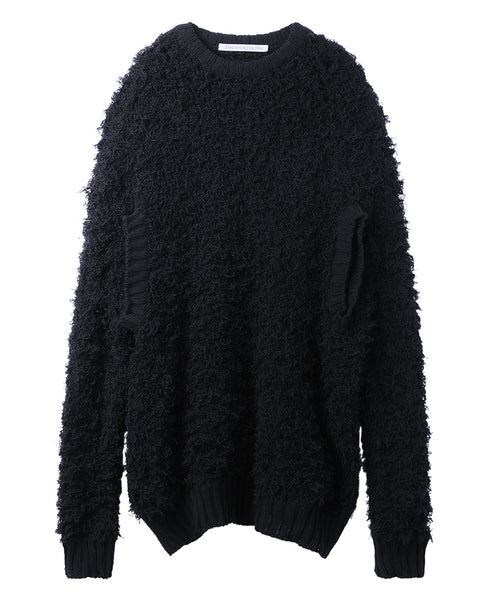 FUR ARM HOLE OVERSIZED KNIT SWEATER / BLACK