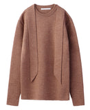 CN SWEATER WITH SCARF / BEIGE