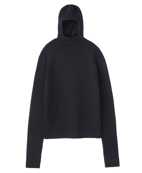 HOODED KNIT SWEATER / BLACK