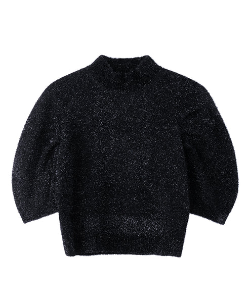 WOMENS TUCK SLEEVE KNIT SWEATER / BLACK