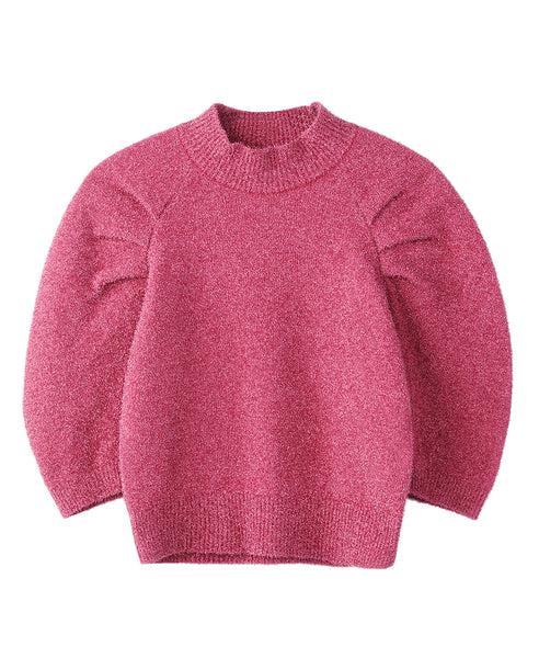 WOMENS TUCK SLEEVE KNIT SWEATER / PINK