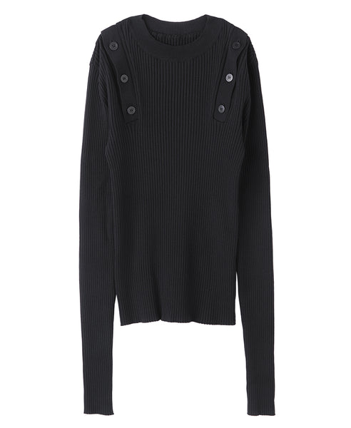 WOMENS SHOULDER BUTTON KNIT SWEATER / BLACK