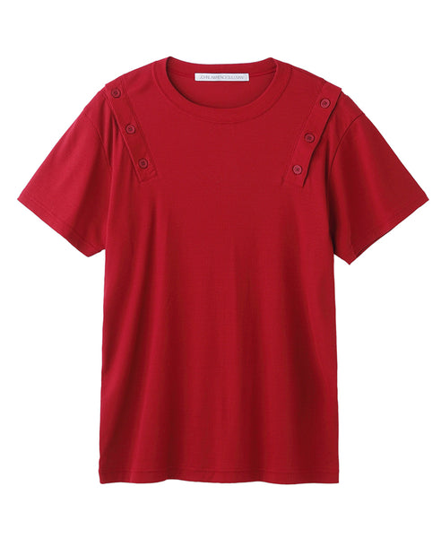 SHOULDER BUTTON T-SHIRT / RED