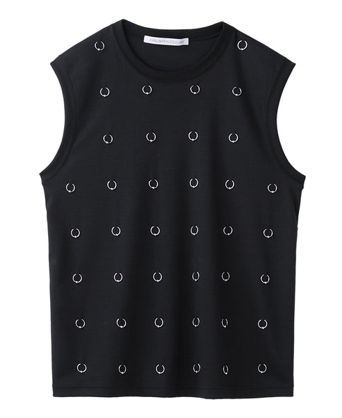 SLEEVELESS TOP WITH BODY PIERCING JEWELRY / BLACK
