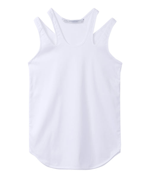 WOMENS DOUBLE SHOULDER TANK-TOP / WHITE