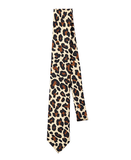 LEOPARD PRINTED SILK NECK TIE