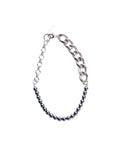 CHAIN AND PEARL NECKLACE / BLACK