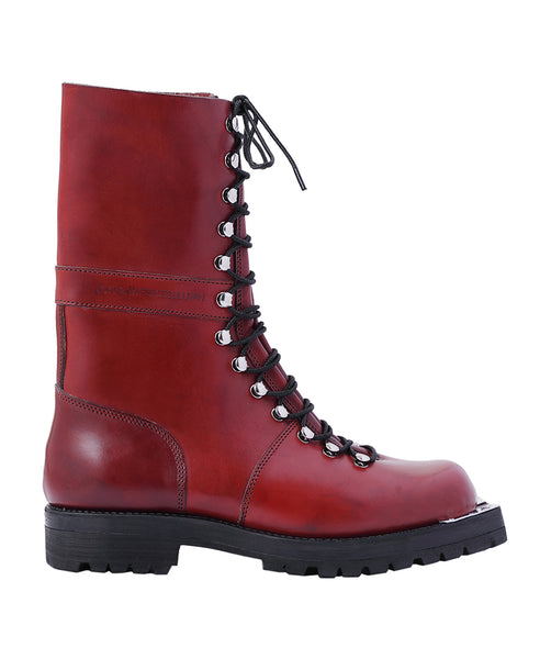 LEATHER COMBAT BOOTS / BROWN