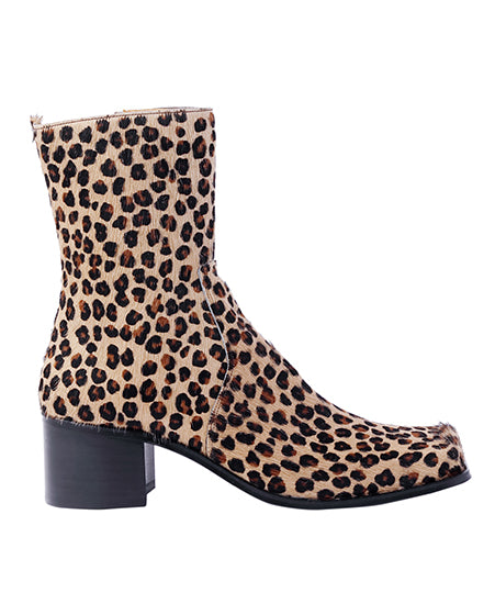 LEOPARD SQUARE TOE BOOTS