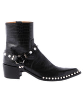 POINTED TOE BOOTS WITH PEARL / CROCODILE