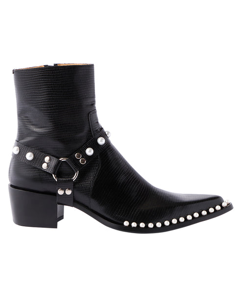 POINTED TOE BOOTS WITH PEARL / LIZARD