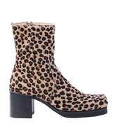 WOMENS LEOPARD SQUARE TOE BOOTS