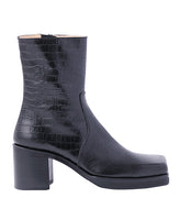 WOMENS LEATHER SQUARE TOE BOOTS