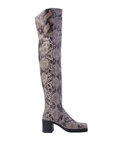WOMENS PYTHON SQUARE TOE LONG BOOTS