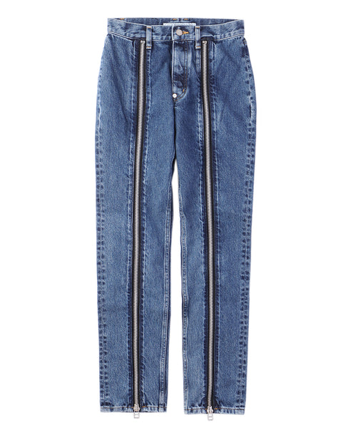 WOMENS WASHED DENIM ZIPPED PANTS / INDIGO