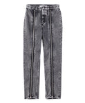 WOMENS WASHED DENIM ZIPPED PANTS / BLACK