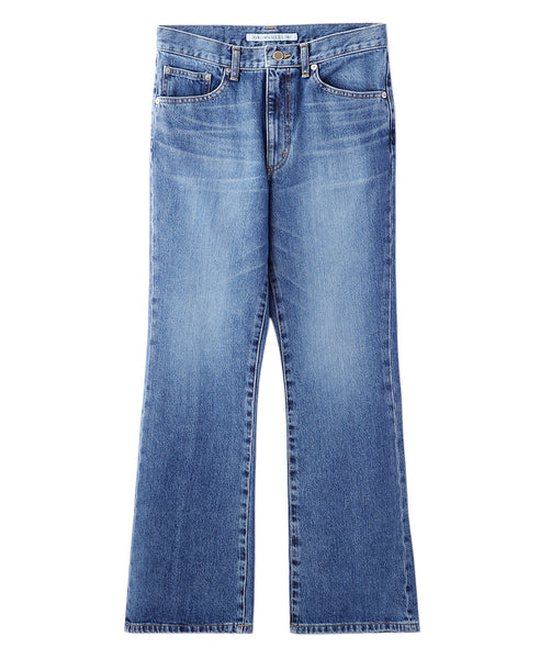 WASHED DENIM FLARED PANTS