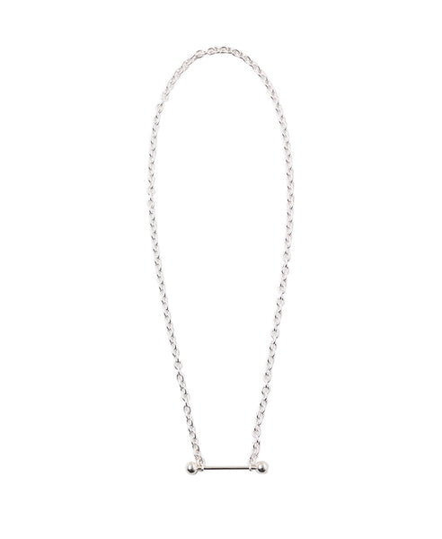 STRAIGHT BARBELL NECKLACE / SILVER