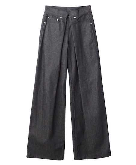 WOMENS RIGID DENIM WIDE PANTS / BLACK