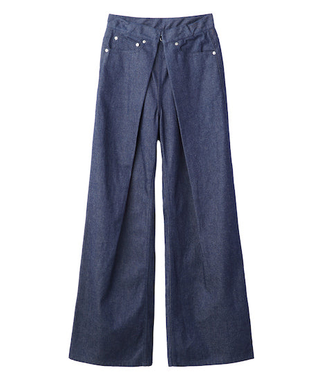 WOMENS RIGID DENIM WIDE PANTS / INDIGO