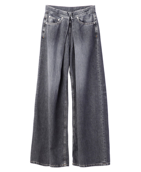 WOMENS WASHED DENIM WIDE PANTS / BLACK