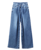 WOMENS WASHED DENIM WIDE PANTS / INDIGO
