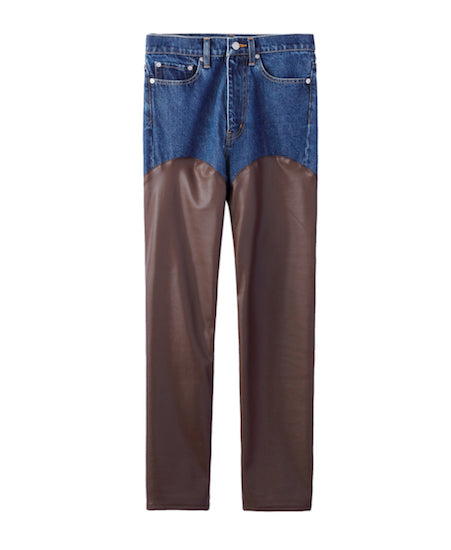 WOMENS DENIM & VEGAN LEATHER BI-COLOR PANTS