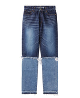 WOMENS WASHED DENIM LAYERED PANTS / INDIGO