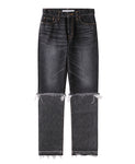 WOMENS WASHED DENIM LAYERED PANTS / BLACK