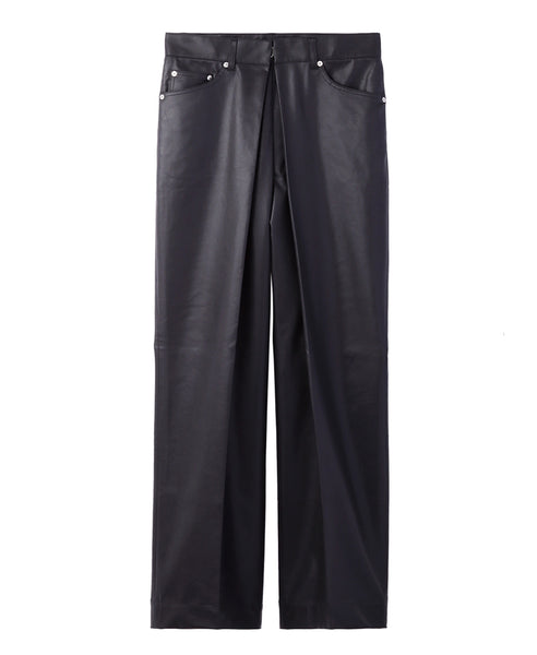 VEGAN LEATHER WIDE PANTS