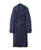WOMENS COTTON TWILL TRENCH COAT / NAVY
