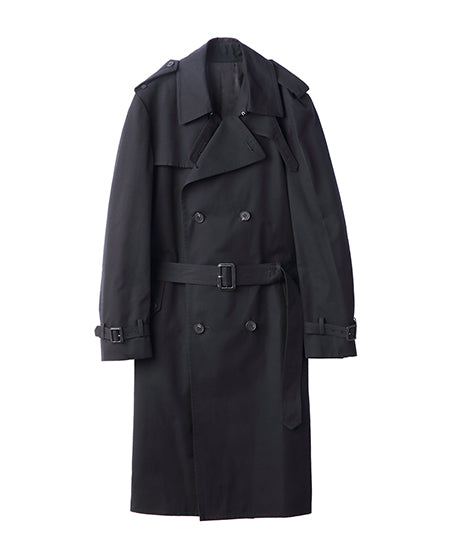WOMENS COTTON TWILL TRENCH COAT / BLACK
