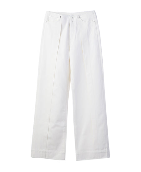 WOMENS WIDE DENIM PANTS / WHITE