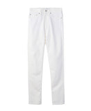 WOMENS RIGID DENIM HIGH-WAIST PANTS / WHITE
