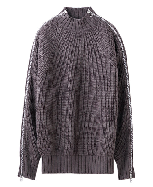 ZIPPED KNIT SWEATER / BEIGE