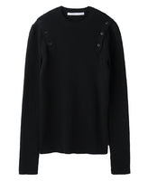 SHOULDER BUTTON KNIT SWEATER / BLACK